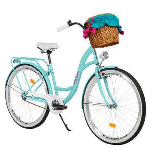 Milord Komfort Fahrrad Mit Weidenkorb Damenfahrrad, 26 Zoll, Blau, 3 Gang Shimano