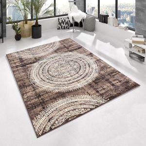 Design Kurzflor Teppich - Maori - Mandala Kreise meliert, Farbe:braun/beige, Größe:80x150 cm