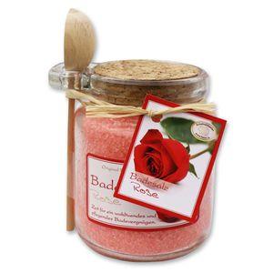 Florex Badesalz Rose mit Schafmilch im dekorativen Glas mit Holzlöffel 300 g