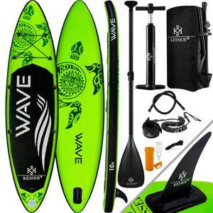 KESSER® Aufblasbares SUP Board Set Stand Up Paddle Board Premium Surfboard Wassersport | 6 Zoll Dick  | Komplettes Zubehör | 130kg , Farbe:(AQUA) Grün 320CM