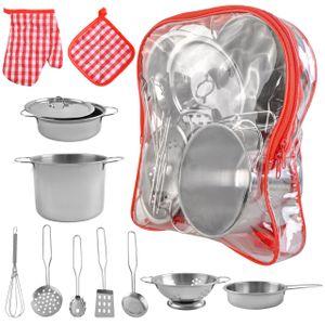 Kinder-Küchen-Set mit Töpfen und Pfannen Spielset aus Edelstahl 9438
