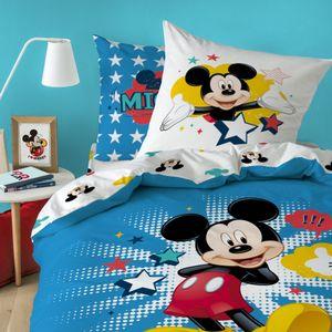 Disney Micky Maus Bettwäsche 80x80 + 135x200 cm · Renforce Kinder-Bettwäsche MICKEY MOUSE STAR - 100% Baumwolle