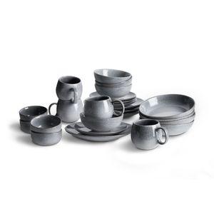 Springlane Geschirr grau, Steingut - Geschirr-Set 24-tlg.