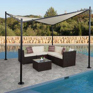 Pergola HWC-A41, Garten Pavillon Sonnensegel, stabiles 6cm Stahl-Gestell  4x4m creme