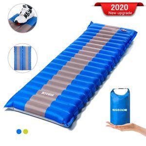 Sunnyme Isomatte Camping Selbstaufblasbare, Fußpresse Aufblasbare,leichte Rucksackmatte für Wanderungen zum Wandern auf Reisen,langlebige wasserdichte Luftmatratze kompakte Wandermatte (Blau)