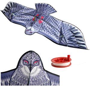 Großer Adler Flug-Drachen für Kinder & Erwachsene – Riesiger 200 x 83 cm Spannweite Winddrache - Lebensecht Schwarz 8560