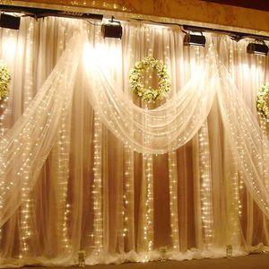 LED Lichternetz Lichtervorhang led Lichterkette Xmas Deko lichtervorhang Vorhang Innen Außen 3x3m