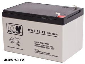 MW-Power AGM GEL Batterie MWS-12-12 VRLA 12V 12Ah (C20) baugleich 9Ah 10Ah 15Ah
