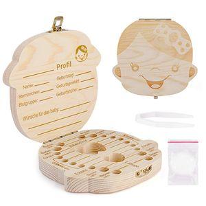Zahnbox Holz Milchzähne Box [Deutsch Version] Zahndose Milchzahndose Zahndöschen für Kinder