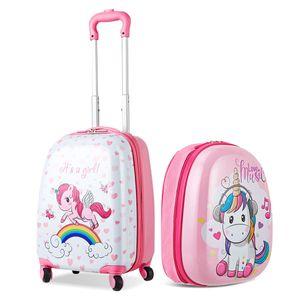 GOPLUS Kinderkoffer 2 TLG. mit Rucksack Kinder Reisekoffer Set Kinder trolley Kinder Gepaeck Einhorn