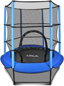 LBLA Trampolin Ø 140 cm Gartentrampolin Outdoor Trampolin Indoortrampolin Kindertrampolin mit Haltegriff Sicherheitsnetz Fitness Sport für Junge Mädchen ab 4 5 6 Jahren