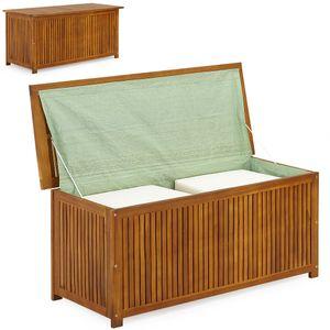 Auflagenbox 117cm Akazien Holz Innenplane vorgeölt Holztruhe Kissenbox Gartenbox Gartentruhe Truhe Kissen Box