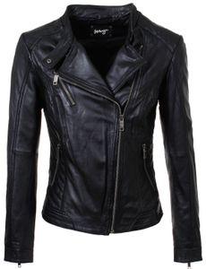 Maze Damen Lederjacke Sally Übergangsjacke schwarz Biker Look seitlich versetzter Reißverschluss MJ1-71, Grösse:XL, Farbe:Schwarz