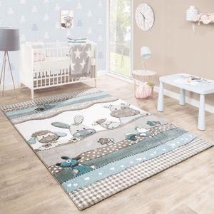 Kinderteppich Kinderzimmer Konturenschnitt Farm Tiere Beige Creme Pastellfarben, Grösse:120x170 cm