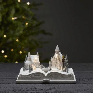 LED-Weihnachtszene im Buch 'Bookville' - 6 warmweiße LED - H: 13cm - Batteriebetrieb - Timer - weiß
