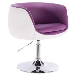 WOLTU Barsessel Clubsessel Loungesessel mit Armlehne Kunstleder 2 farbig  violett+weiß