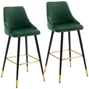 Duhome 2er Set Barhocker Barstuhl aus Stoff Samt Dunkel Grün Gestell aus Metall edles Design