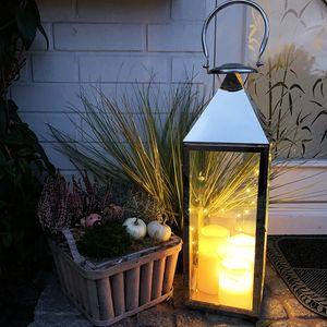 XXL Edelstahl-Laterne 54cm  inkl. LED Lichterkette + LED Kerze