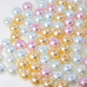 200 Glas-Perlen rund 6mm Fädelperlen Bastelperlen Glasperlen Farbmix, Farbe:Farbmix 1