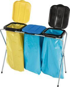 NÖLLE Abfallsammler / Müllsack / Müllbeutelständer 3x120 l m.Deckel gelb/blau/schw