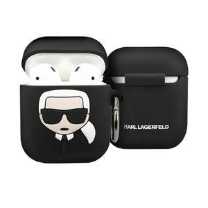 Karl Lagerfeld Silikon Cover für Apple AirPods Schwarz Schutzhülle Tasche Case Etui Zubehör