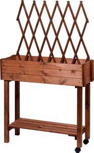 dobar Rollbares Hochbeet mit Rankhilfe, Tischbeet für Terrasse & Balkon, 79 x 28,5 x 130 cm, Fichte, Braun