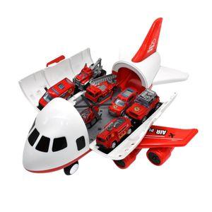 Fahrzeuge Spielzeug mit Passagier Flugzeug Träger Lagerung Container 6 Mini Legierung Lkw Fahrzeuge Farbe Red_ 6 Feuerwehrautos