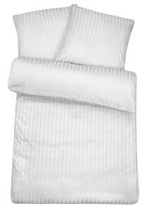 Damast Bettwäsche Weiß aus 100% Baumwolle : 240cm x 220cm + 2x (80cm x 80cm) Größen-Auswahl: 240cm x 220cm + 2x (80cm x 80cm)