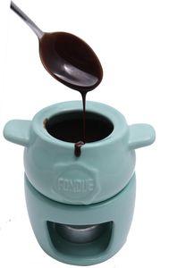 Schokoladenfondue Schokofondue-Set Braun-Weiß Keramik Porzellan Valentinstag