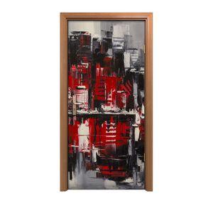 Türposter 90x200 cm Türaufkleber Türtapete Türfolie Klebefolie Malerei Stadt rot schwarz Wasser