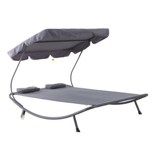 Outsunny Doppelliege Sonnenliege Relaxliege rollbar mit Dach Stahl Grau 200 x 170 x 134 cm