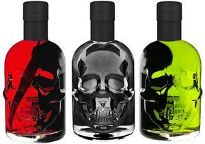 Absinth Totenkopf Trio je 0,5L Green/Black/Red Chili Mit max. erlaubtem Thujon 35mg/L 55% Vol