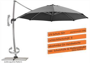 Schneider Sonnenschirm RHODOS rondo 350/8 anthrazit, ohne Platten mit Plattenständer 792-15