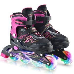 Inline Skates Verstellbare Rollerblades mit leuchtenden Raedern Fuer Kinder Jungen Maedchen Damen,Pink,M