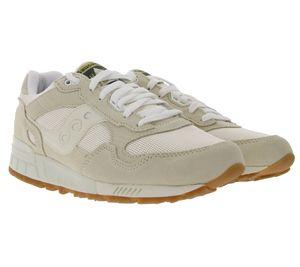 Saucony Shadow 5000 Turn-Schuhe bequeme Uni Freizeit-Sneaker im Retro-Look Beige/Weiß, Größe:37