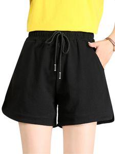 Damen Shorts Unterteile Lose Elastische Hohe Taille A-Linie Lässige Kurze Hose Breites Bein,Farbe:Schwarz,Größe:L