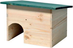 dobar Igelhaus Bausatz mit grünem wetterfestem Dach mit Schleuse, aus Kiefern-Holz, als Igelschlafhaus und Igelfutterhaus, 34,5 x 24 x 27 cm