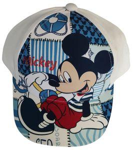 Disney Mickey Maus Kappe Basecap Mütze Patchwork Motiv Sea für Kinder Weiß, Gr. 50