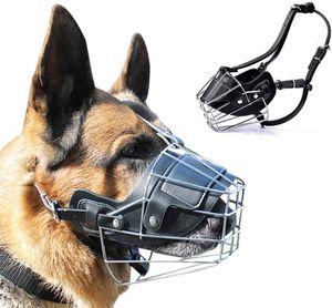 VADOOLL Metall Maulkorb Hunde Maulkörbe Ledermaulkorb für Groß Hunde Beißen und Sicherheitsgefühl für Meistens Hunde