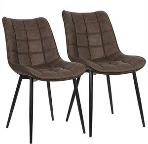 WOLTU Esszimmerstühle 2er-Set Küchenstuhl Polsterstuhl mit Rückenlehne, aus Kunstleder, Metallbeine, Braun