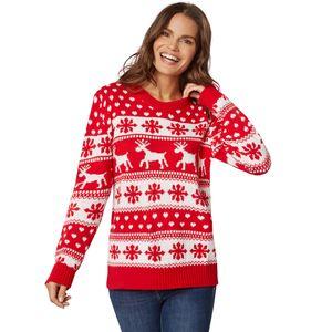 dressforfun Weihnachtspullover Winterzauber rot-weiß für Frauen - S