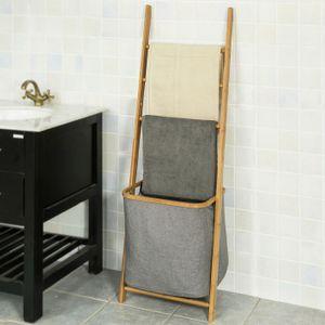 SoBuy® Badregal mit 3 Handtuchstangen und Wäschebeutel, FRG263-N