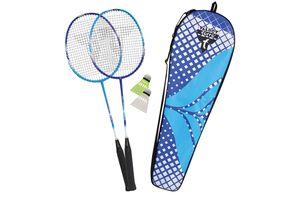 Talbot Torro Premium Badminton-Set 2-Fighter Pro, 2 Graphit-Composite Schläger, 2 Federbälle, in wertiger Tasche