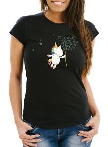 Damen T-Shirt Einhorn mit Pusteblume Unicorn with Dandelion Slim Fit Moonworks® schwarz L