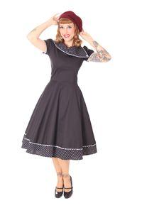 SugarShock Nieva Polka Dots Kragen 60s retro Petticoat Kleid, Größe:XXL, Farbe:schwarz weiss