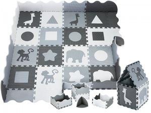 XXL Krabbelmatte Puzzelmatte mit Rand Spielmatte für Babys und Kleinkinder 150 x 150 x 1 cm + Wasserdicht - Grau