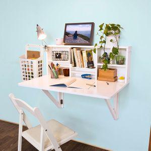 SoBuy Wandschrank, Küchentisch, Esstisch, Wandklapptisch mit integriertem Regal, B90 x H36 x T60cm FWT07-W (Weiß)