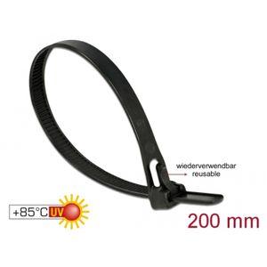 DeLOCK Kabelbinder wiederverw. L 200  bk   L 200 x B 7,5mm