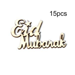 15 stuecke Holz Eid Mubarak Ramadan Partei Liefert Ornament DIY Plaque Anhaenger Festival Home Decoration