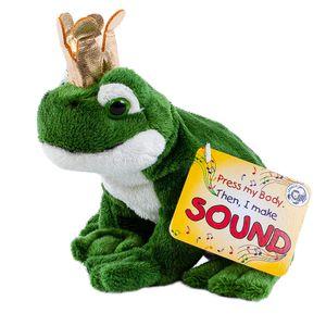 Froschkönig Kuscheltier Frosch mit Sound (Quaken) und goldener Krone 15 cm